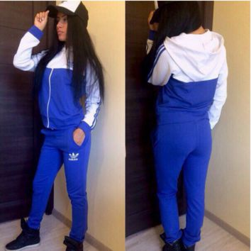 """ADIDAS""  The new women's sports leisure suit Blue"