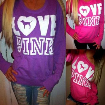 VONE055 Pink' Victoria's Secret Loose Long Sleeve Shirt Pullover Sweater Blouse Top