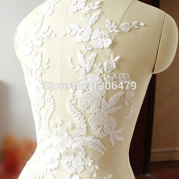 French lace fabric black Ivory white Cotton embroidered applique High-end wedding dress accessories Handmade DIY RS254