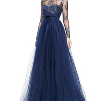 Notte by Marchesa Long-Sleeve Illusion Full-Skirt Gown