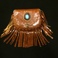Leather Fringe Purse / Crossbody Bag / Shoulder Bag / Whipstitching / Stone Detail