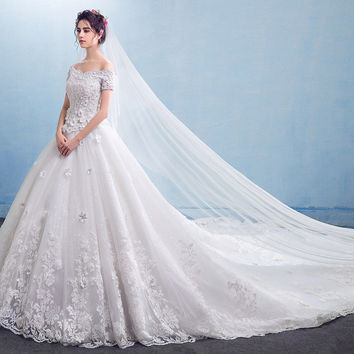 Wedding Dress Off Shoulder Short Sleeve A Line Long Train Wedding Gowns Appliques Beading Cheap Wedding Dresses Made In China