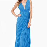 Casual Blue Sleeveless V-Neck Backless Pleated Maxi Dress
