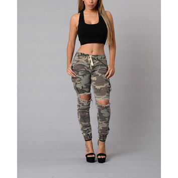 Adogirl Camouflage Ripped Denim Jean
