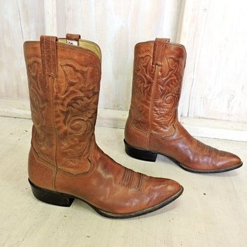 Handmade cowboy boots 9.5 D  mens / Vintage Sanders Mexico handcrafted cowboy boots / tooled custom brown leather western boots