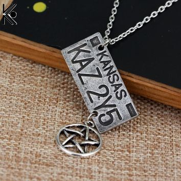 free shipping Movie Jewelry Supernatural Dean License Plate Pendant Necklace New Fashion Vintage Necklace For fans Souvenir gift