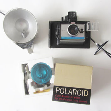 Polaroid Colorpack III camera lot . Kalart flash kit and lens color set
