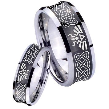 His Her Black Concave Celtic Zelda Two Tone Tungsten Wedding Rings Set