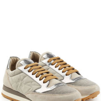 Embellished Sneakers with Suede - Brunello Cucinelli | WOMEN | US STYLEBOP.COM