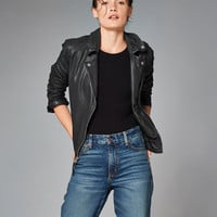 Womens Genuine Leather Biker Jacket | Womens Outerwear & Jackets | Abercrombie.com