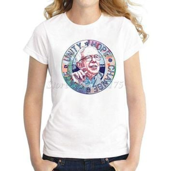 VLX85E Beauty Ticks Women Novelty Design T Shirt Bernie Sanders Unity Hope Peace Change Printed Tee Shirts