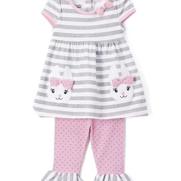 Nannette Kids Gray Stripe Bunnies Tunic & Leggings - Toddler & Girls