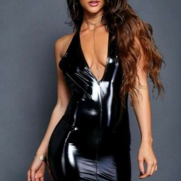Glossy Latex Mini Dress