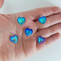 5 Heart shaped mermaid scale charms, heart charms, mermaid charms, mermaid scales, shimmery scales, love charms, beach charms,