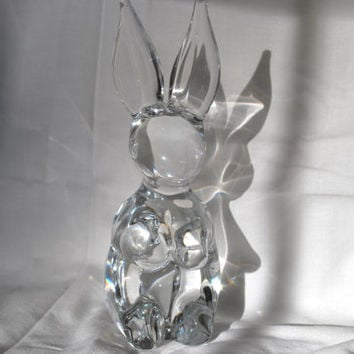 Signed Daum Rabbit Figurine Crystal Paperweight Collectible Art Glass