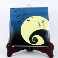 The Nightmare before Christmas Ceramic Tile - Handmade from Italy - High Quality Jack Skellington Sally Tim Burton  mod. 11
