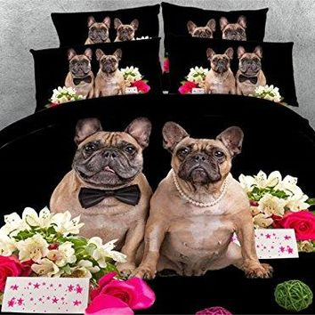 Newrara 3d Digital Bedding 3D Pug Dog Couple and Pink Rose Printed 4 Piece Black Duvet Cover Sets (Queen, Black)