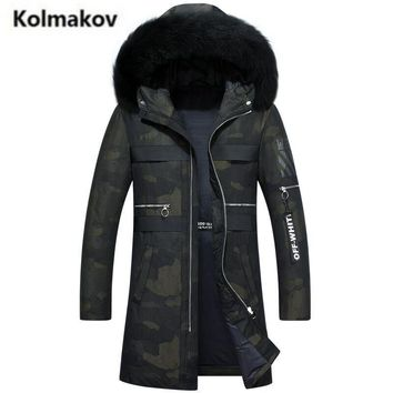KOLMAKOV 2017 new winter men's long hooded fur collar Camouflage printed down jacket parkas,80% white duck down coats men,M-3XL.