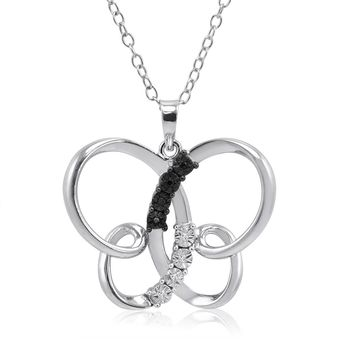 Black and White Diamond Butterfly Pendant-Necklace in Sterling Silver