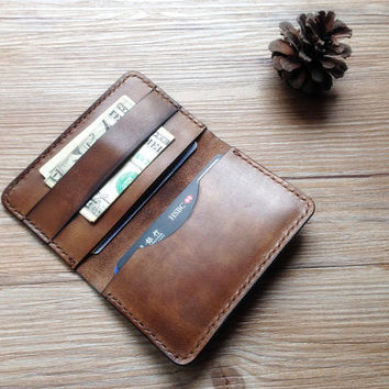 Front pocket wallet, slim credit card holder, leather, bifold vegetable tanned minimalist wallet, groomsmen gift, monogrammed wallet, LT545