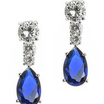 CZ by Kenneth Jay Lane - Blue and Sapphire Round and Pear Drop Pierced Earring