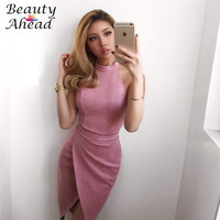 2017New Autumn Sexy Pink Brown Bodycon Dress Draped Women party dress night club dress sleeveless Backless  plus size S-XL dress