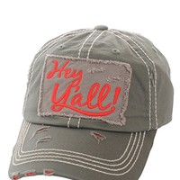 Hey Ya'll Gray Patch Adjustable Baseball Cap KBV1046(MOS)