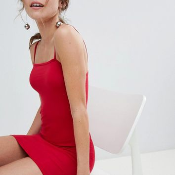 Miss Selfridge bodycon dress with square neck in red at asos.com