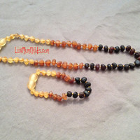 Baby Tri-Color Raw Amber Rounded Teething Necklaces & Bracelet