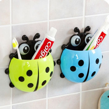 1x New Cute Funny Cartoon Yellow/Red/Blue/Green Ladybug Sucker Suction Hook Tooth Brush Holder = 1945696068