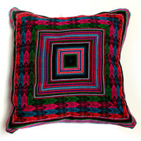 PERUVIAN CUSHION COVER - throw pillow, Peruvian ethnic cushion, boho decor, embroidered pillow, bohemian decor