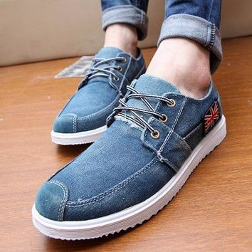 2017 New Men's Jeans Shoes Lace-Up Fashion Casual Shoes Rubber Soles Students Canvas Shoes Breathable Shoe Free Shipping