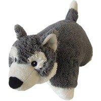 "Husky Zoopurr Pets 3-in-1 Stuffed Animal, Blanket, and Pillow Large 19"" with Fleece Blanket"