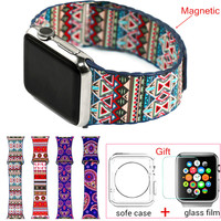 Bohemian Leather Loop Watchband for iwatch bands Strap Magnetic Stainless steel Buckle for Apple Watch 38mm 42mm