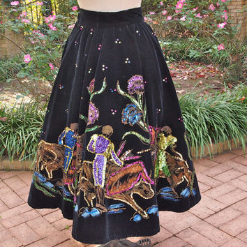 50's Mexican Painted Velvet and Sequin Circle Rockabilly Hand Painted Matador Skirt