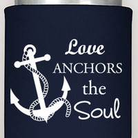 Love Anchors the Soul Wedding Coozies, custom wedding coozies, party favors, nautical wedding, customized with your name, summer weddings