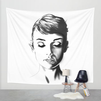 Audrey Hepburn Wall Tapestry by Geryes