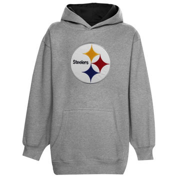Pittsburgh Steelers Youth Logo Pullover Hoodie - Ash - http://www.shareasale.com/m-pr.cfm?merchantID=7124&userID=1042934&productID=521367329 / Pittsburgh Steelers