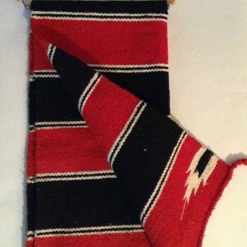 Vintage Mexican Hand Woven Zapotec Throw Saddle Blanket Navajo Southwestern Geometric Wall Hanging Decor Black White Red