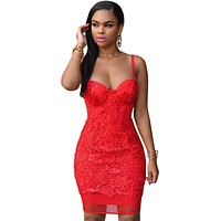 Red Lace Padded Bridal Party Dress