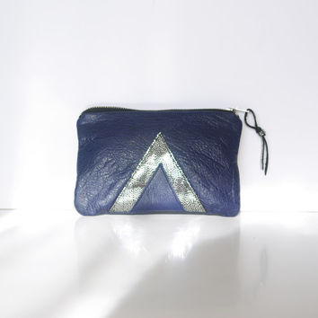 Galaxy Leather Pouch // Art Deco Purse // Geometric Clutch // Metallic Holographic // Purse Bag // Blue Silver