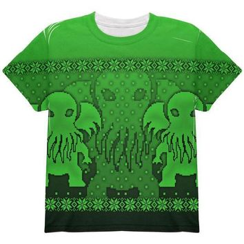 PEAPGQ9 Ugly Christmas Sweater Big Cthulhu Greater Gods All Over Youth T Shirt