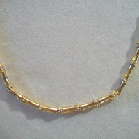 Vintage Monet Bamboo Link Necklace Gold Tone Chain Designer Signed Costume Jewelry
