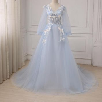 Popular Long Sleeves Evening Dresses Sexy V-neck Applique Feather Long Party Prom Gowns 5 colors
