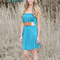 Fringe western jade dress