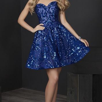 Tiffany Homecoming - 27237 Strapless Sequined Sweetheart A-line Dress