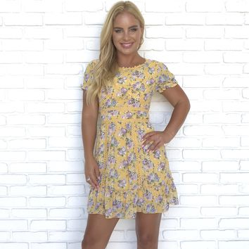 Floral Arrangement Babydoll Dress