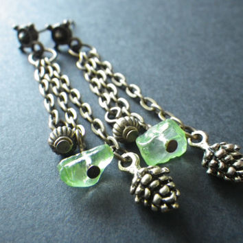 Green Peridot and Pine Cones- Golden Bronze- Post Earring- Nature- Outdoors- Woodland- Camping- Hiking- Summer- Gift for Her- Woman