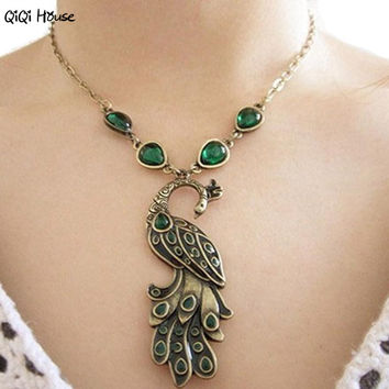 Green Enamel Peacock Necklace Vintage Bohemian Necklaces & Pendants Bijoux Femme Collier Femme#A124