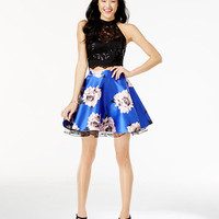 City Studios Juniors' 2-Pc. Lace Floral-Print Dress | macys.com
